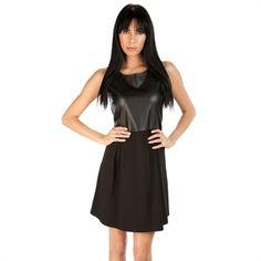 Olive & Oak Women's Contemporary Ponte and Faux Leather Dress | from Von Maur #VonMaur #LittleBlackDress #FauxLeather #Black