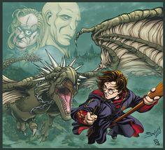 Harry Potter VS the Horntail by JoniGodoy.deviantart.com on @deviantART