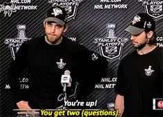 Suttsy and Tanger. We have a portion of this press conference taped from a KDKA Pittsburgh sports report, where Kris is talking and Brandon looks so bored he wants to die. Cannot ever stop watching it. Hockey Baby, Hockey Puck, Hockey Players, Funny Hockey, Pittsburgh Hockey, Pittsburgh Penguins, Nhl, Pens Hockey, Lets Go Pens