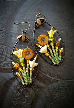 Blossom Series, Flowers, Wire Wrapped, Hoops, Artisan Made, Oranges, Yellows, Summer, Glass, Organic, Rustic,Unique, Beaded Earrings by YuccaBloom on Etsy