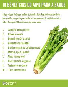 Clique na imagem e veja os 10 benefícios do aipo para a saúde. #alimento…