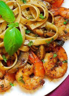 Pesto Shrimp Fettuccine in Mushroom Garlic Sauce