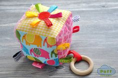 Baby Activity Block Cube Developing Rattle Toy by PaffToys on Etsy