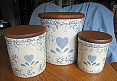 Ransbottom blue heart spongeware heart crocks for sale at More Than McCoy at http://www.morethanmccoy.com