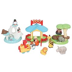 Zoo Toy Play Set with Toy Train, 3 Zoo Habitats, Animals & More $25