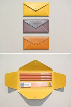For more information on own brand goods and inspiration for promotional goods visit us on www.dinksltd.co.uk Diy Leather Envelope, Leather Wallet, Leather Box, Leather Pencil Case, Diy Necklace Packaging, Pouch Packaging, Small Leather Goods, Diy Leather Gifts, Leather Craft