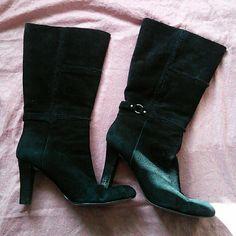 Nine west high heels Black suede material size 9 Nine West Shoes Heeled Boots