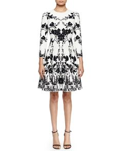 3/4-Sleeve Floral-Print Fit-&-Flare Dress, Off White/Black, Size: SMALL - Alexander McQueen