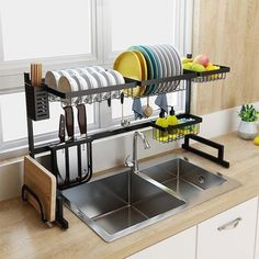 $130.45 · Looking for a solution to keep your kitchen neat and tidy? Introducing our stainless steel all-in-one multi-purpose dish rack kitchen organizer! This state-of-the-art kitchen helper will save you lots of space and time on dish washing and organizing. The dish rack complete set comes with everything you need in a compact design: 1 x dish rack, 1 x bowl rack, 1 x knifes and cutlery holder, 1 x utensil holder, 1 x veggies and fruits holder, 1 x cutting board holder, 1 x dish s..