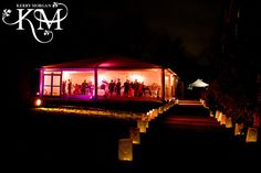Dinner in the Marquee at Night, What fabulous lighting - By Kerry Morgan