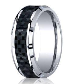 Designer Cobalt Chrome Men's Wedding Ring With Carbon Fiber | 8mm