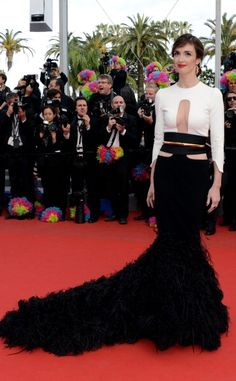 Paz Vega at 2012 Cannes Film Festival in black and white Stéphane Rolland Spring 2012 Couture gown.