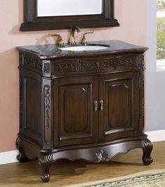 """Single Sink Bathroom Vanity w/ Marble Top #4037-NF - 36"""""""