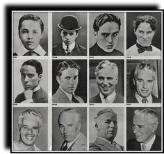 "Charles Chaplin through the years. Some may not know this, but he started going gray fairly young, in his late early Afterwards had to use black hair dye to play ""the tramp"". Hollywood Actor, Hollywood Stars, Old Hollywood, Hollywood Icons, Classic Hollywood, Charlie Chaplin, Chaplin Film, Charles Spencer Chaplin, Black Hair Dye"
