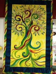 The Healing Tree Quilt - Chariti Briosi 2014 Art Quilt, framed like a painting.
