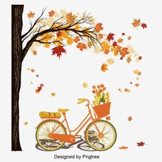 Design Of Travel Material For Bicycle Riding Under Trees In Autumn Vector and PNG Hd Design, Vector Design, Vector Art, Pintura Vector, Dream Background, Autumn Leaves Background, Bicycle Illustration, Autumn Painting, Travel And Tourism