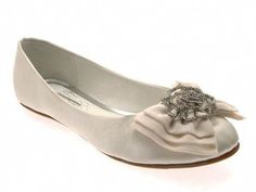 927f367f495b8 Womens LOW Heel Flat Satin Ballet Pumps BOW Bridal Prom Wedding Shoes Ivory  3 8