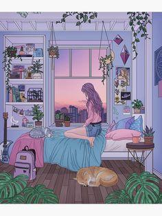 Cartoon Kunst, Cartoon Art, Art And Illustration, Anime Scenery Wallpaper, Cartoon Wallpaper, Animes Wallpapers, Cute Wallpapers, Bedroom Drawing, Anime Art Girl