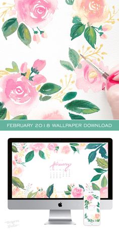 Pretty posy watercolor February 2018 calendar wallpaper for your computer. 100% original art by artist Michelle Mospens. | Mospens Studio