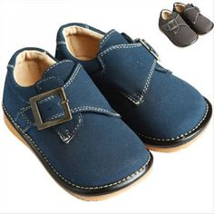 Boy Squeaky/Dress Shoes, Brown/Navy, Suede upper, Removable Squeaker (Toddler/kid/children) Squeaky Shoes HLT. $21.99