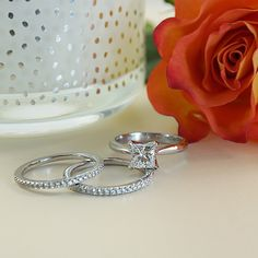 York Jewellers engagement ring and wedding rings.