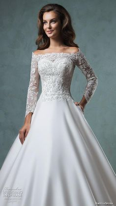 amelia sposa 2016 wedding dresses off the shoulder lace long sleeves embroideried bodice beautiful satin a line ball gown wedding dress canty close up.
