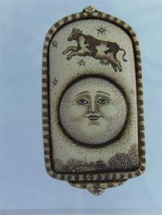 1996 R H Badeau Over The Moon Scrimshaw Resin Cow Figural Brooch Pin Artisan | eBay