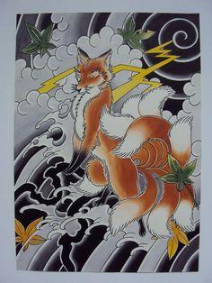 japanese fox tattoo | Nine Tailed Fox Deneka Custom Tattoo