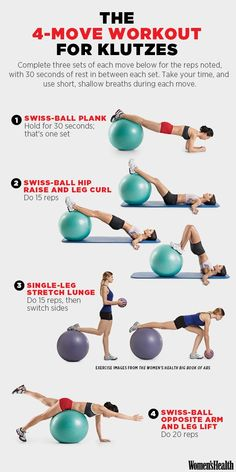 4 Moves That'll Help Make You Less Clumsy is part of Ball exercises - I love the Swiss ball because no matter what exercise you do with it, you're always working on your core stability Swiss Ball Exercises, Stability Ball Exercises, Core Stability, Yoga Fitness, Health Fitness, Women's Health, Fitness Exercises, Health Tips, Workout Fitness