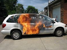 Our van on fire