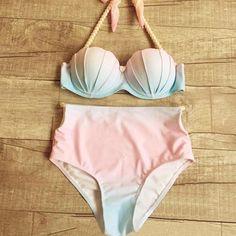 Gradient Push Up High Waist Shell Swimwear Bikini Swimsuit