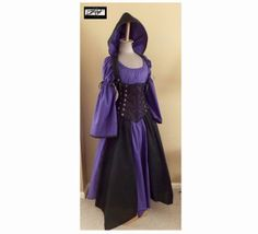 Calypso - Purple and Black - Add-A-Hood, Corset, Top, and 8 Panel Jagged Skirt by LoriAnn - Custom size