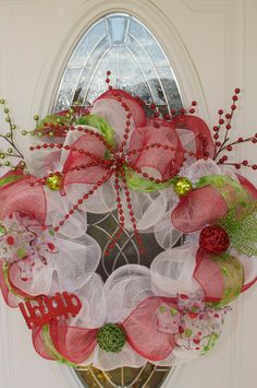 Red White and Green Deco Mesh Wreath by AmyClaireDesigns on Etsy, $75.00