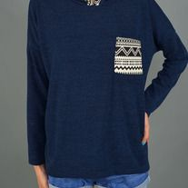 Aztec Print Contrast Hooded Sweatshirt Self: 97% Polyester 3% Spandex Contrast: 100% Polyester MADE IN USA  Blue