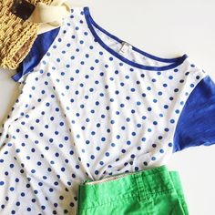 J.Crew Polka Dot Cap Sleeve T-shirt Royal (Kentucky!) blue polka dot and cap sleeved t-shirt from J.crew. The white part is fairly sheer in my opinion but wearing a nude color bra underneath should be fine. A nude cami or tank would work really well underneath as well if you're worried about it, but may not be necessary depending on skin tone. 100% cotton. Length: 24 inches shoulder to hem. Bust: 20 1/2 inches across. Bottom hem: 22 inches across. J. Crew Tops Tees - Short Sleeve