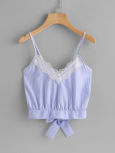 Shop Vertical Striped Split Bow Tie Back Cami Top online. SHEIN offers Vertical Striped Split Bow Tie Back Cami Top & more to fit your fashionable needs. Umgestaltete Shirts, Cute Shirts, Shirt Blouses, Casual Outfits, Summer Outfits, Cute Outfits, Fashion Outfits, Women's Fashion, Cami Tops