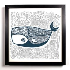 The Jolly Old Whale 8 x 8 Art Print Woodblock Hand Drawn Linocut Illustration Graphic Design Poster On, Poster Wall, Whale Illustration, People Illustration, Whale Art, Wedding Gifts, Decor Wedding, Fine Art Paper, Art Lessons