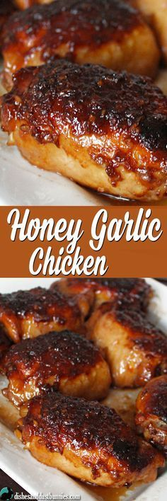 Honey Garlic Chicken (plus some really tasty sauce!) from dishesanddustbunnies.com #chickenfoodrecipes