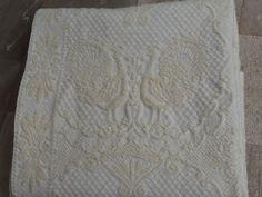 White Peacocks In Love!!! Vintage White Woven Bedspread Peacocks Duvet Wool Cotton by VintageHomeStories