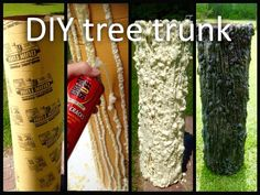 DIY tree trunk using Great Stuff spray foam (it's cheaper at Walmart than Lowe's. They're found in the spray paint aisle), concrete tube molds (Lowe's Home Improvement), and spray paint (Rustoleum Camouflage is best, no gloss). Easy to do but the foam is super, super sticky and I highly suggest using rubber gloves. Hold the tube on its side to form your lines and go slowly. Allow to set for at least a day before you paint them. The paint will expand if you don't allow the foam to set…
