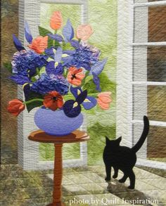 French Doors by Laurel Anderson, 2014 Road to California, closeup photo by Quilt Inspiration Black Cat Art, Black Cats, Cat Quilt Patterns, Animal Quilts, Watercolor Cat, Landscape Quilts, Quilt Art, Cat Decor, Great Paintings