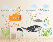 Under the Sea Adventure ocean scene Under Water decal by OwlHills Childrens Room Decor, Boys Room Decor, Kids Bedroom, Sea Murals, Wall Murals, Baby Boy Rooms, Baby Room, Sea Nursery, School Murals