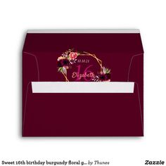 Shop birthday burgundy florals geometric gold envelope created by Thunes. Gold Envelopes, Custom Printed Envelopes, Sweet 16 Birthday, 16th Birthday, 60th Birthday Party Invitations, Milestone Birthdays, Burgundy Wedding, Wedding Stationary, Florals