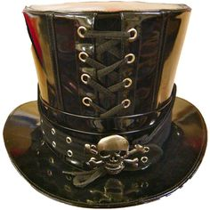 Steampunk PVC Black Top Hat with skull ❤ liked on Polyvore featuring accessories, hats, steampunk, hair fascinators, black fascinator, black top hat, steam punk hats and black fascinator hat
