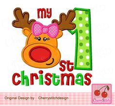 My 1st Christmas with girl reindeer, Christmas girl reindeer, My 1st Christmas -4x4 5x5 6x6 inch-Machine Embroidery Applique Design by CherryStitchDesign on Etsy
