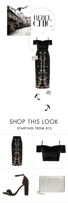 """""""Black, Red & Silver Outfit."""" by xabbielou ❤ liked on Polyvore featuring River Island, Delicious, Chelsea28 and Carolee"""