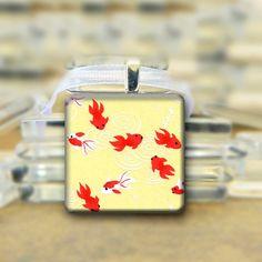 Yellow Goldfish Pendant necklace Koi Orange by glitteringdreams