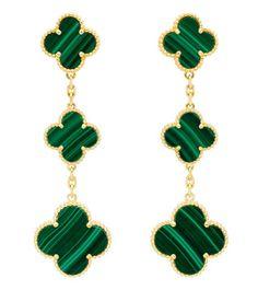Van Cleef & Arpels drop earrings - malachite quatrefoils