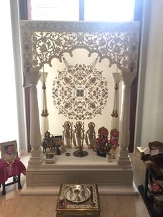 Drawers and front jaali work Temple Design For Home, Home Temple, Temple Room, Mandir Design, Pooja Mandir, Pooja Room Door Design, Dining Room Blue, Puja Room, Bungalow House Design