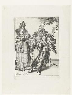 Anonymous   Een gemaskerde vrouw aan de hand meegevoerd door een gemaskerde man met een fakkel, Anonymous, Jacob de Gheyn (II), Assuerus van Londerseel, 1596 - 1635   Een gemaskerde vrouw in feestelijke kledij wordt aan de hand meegevoerd door een gemaskerde man in feestelijke kledij met een fakkel. Deze prent is onderdeel van een serie van negen genummerde prenten, waarop twee of drie gemaskerde en/of verklede figuren ten voeten uit zijn weergegeven.
